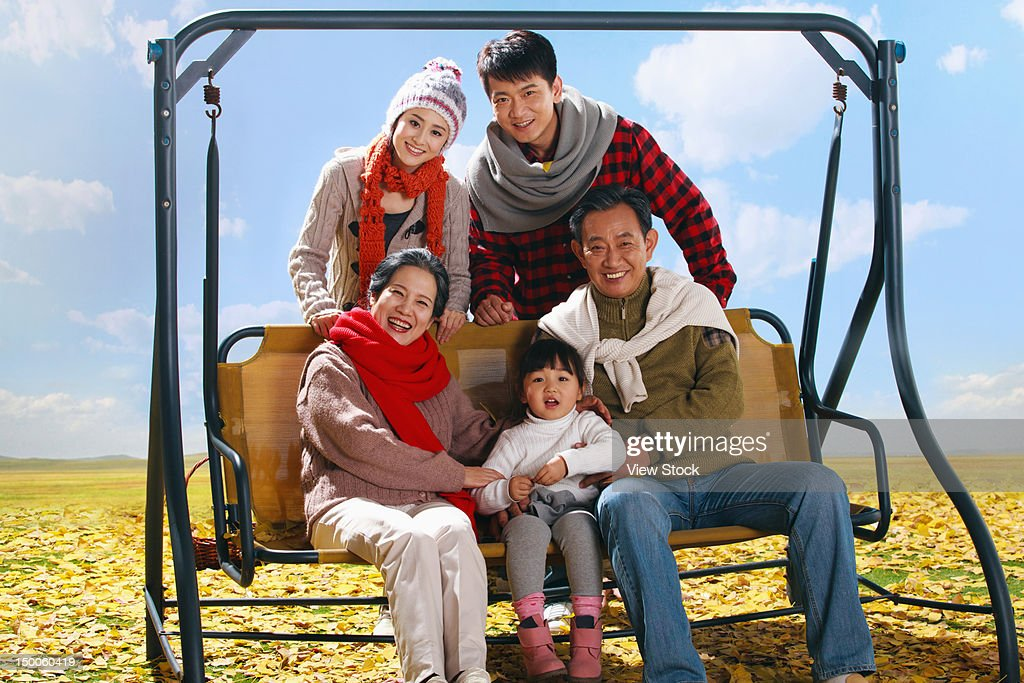Family in autumn : Stock Photo