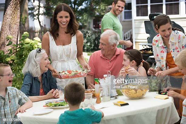 Family in backyard about to have lunch