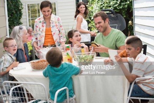 Family in backyard having lunch