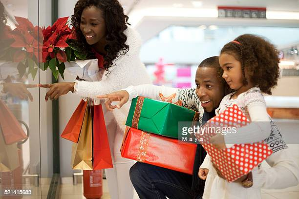 Family in Christmas shopping