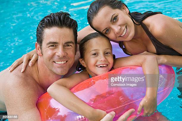 family in pool