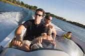 Family in speedboat