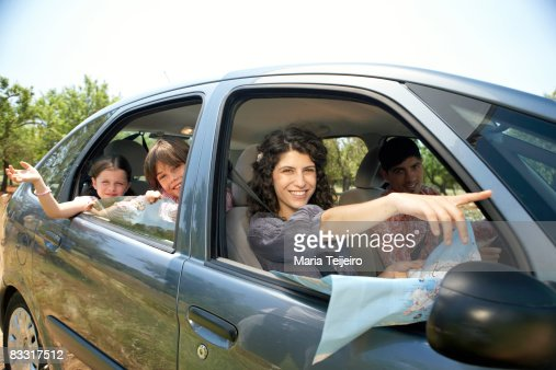 family in the car : Stock Photo