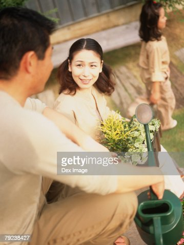 Family in the garden : Stock Photo