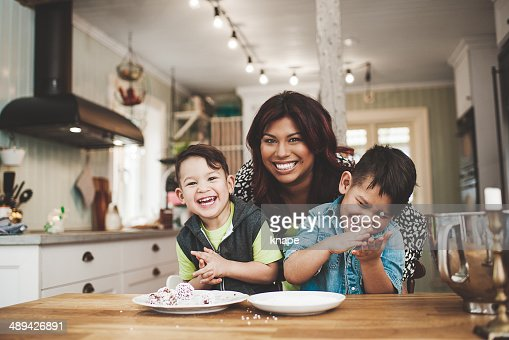 Family in the kitchen baking