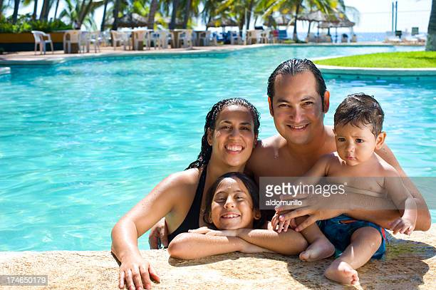 Family in the pool