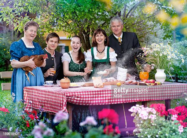 Family in traditional Bavarian clothes
