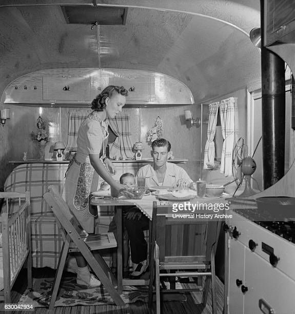 Family in Trailer Home at Glenn L Martin Trailer Village a Farm Security Administration Housing Project Middle River Maryland USA John Collier for...