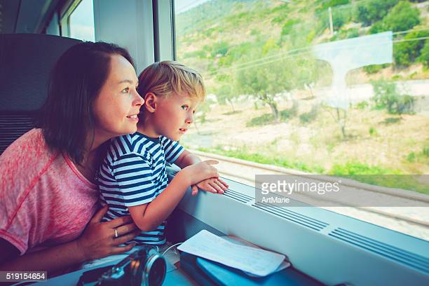 Family in train
