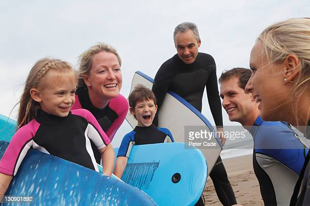 family in wetsuits on beach with bodyboards
