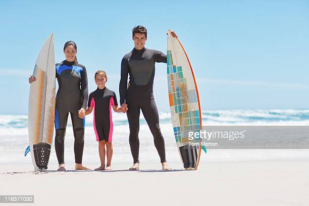 Family in wetsuits with surfboards on beach