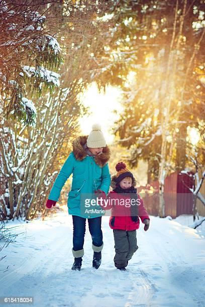 Famille en hiver