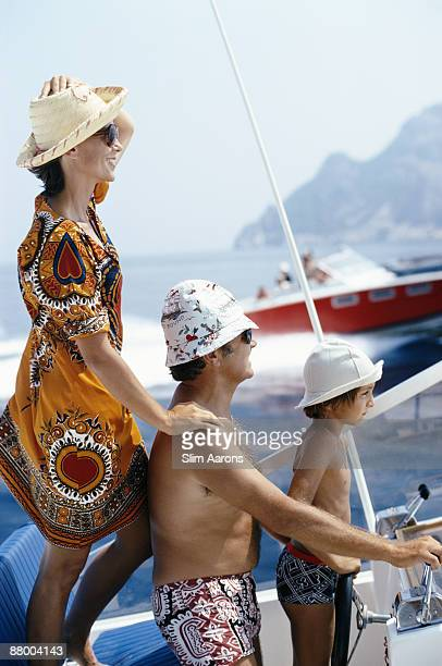 A family jaunt in a motorboat in Porto Ercole Tuscany circa 1975