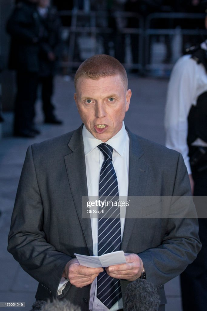 Family Liaison Officer DI Pete Sparks delivers a statement on behalf of the Rigby family outside the Old Bailey following the sentencing of Michael...