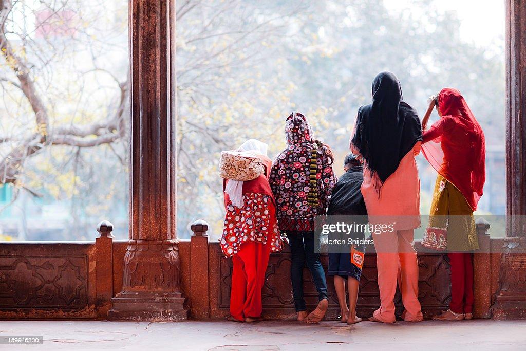 Family looking down at Jama Masjid : Stock Photo