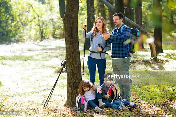 Family Making Break at Hiking.