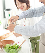 A family making salad