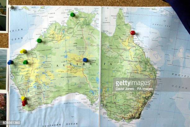 A family map showing Louise Saunders' progress on a trip across Australia who is missing in the north east of the country Louise Saunders from...