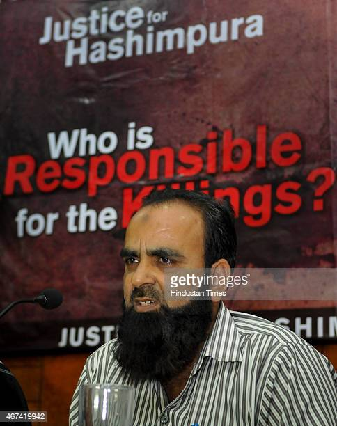 Family member of the victims of the 1987 Hashimpura massacre during a press conference to express their disappointment at the lower court judgement...