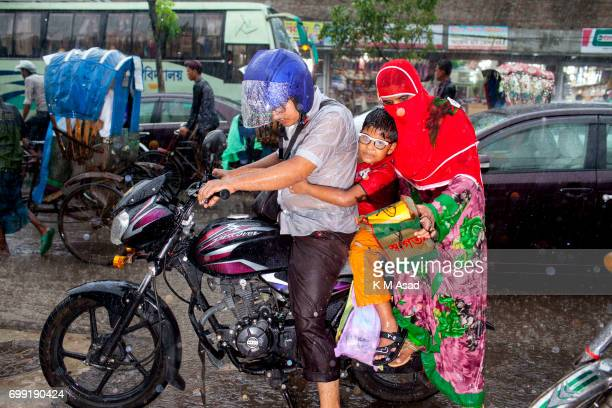 UNIVERCITY DHAKA BANGLADESH Family member stuck in the traffic jam when heavy rainfall made in Dhaka city The death toll rises to 156 in several hill...