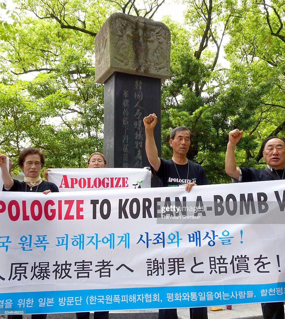 Family members and supporters of the South Korean A-bomb victims and survivors demand apology and conpensation by Japan and United States during a rally ahead of the visit by U.S. President Barack Obama at the Hiroshima Peace Memorial Park on May 27, 2016 in Hiroshima, Japan. Obama becomes the first sitting U.S. president to visit Hiroshima, where the first atomic bomb was dropped in 1945 at the end of World War II.