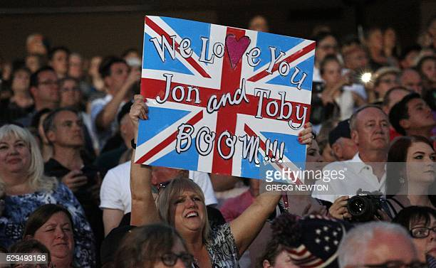 Family members from the United Kingdom cheer on loved ones during opening ceremonies for the 2016 Invictus Games in Orlando Florida May 8 2016 The...