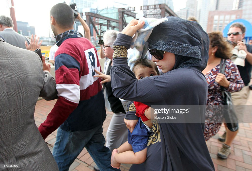 Family members of alleged Boston Marathon bomber Dzhokhar Tsarnaev leave the John Joseph Moakley United States Courthouse following his appearance.