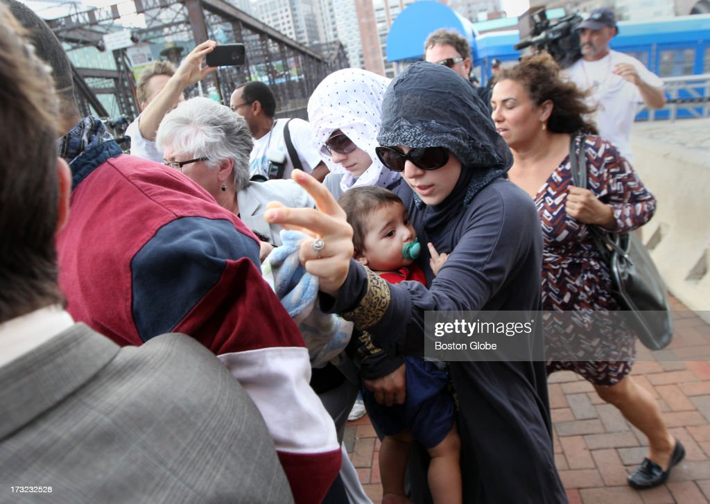 Family members of alleged Boston Marathon bomber Dzhokhar Tsarnaev leave the John Joseph Moakley United States Courthouse following his appearance.