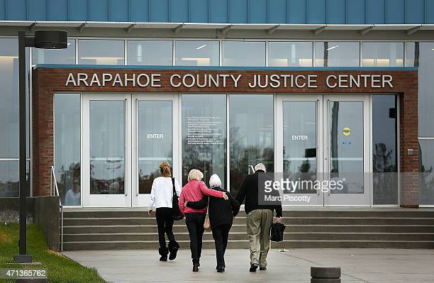 Family members of Aurora Theater shooting victim Veronica Moser walk into the Arapahoe County Justice Center as opening arguments for the trial of...