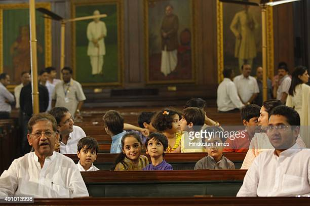 Family members of former Prime Minister Lal Bahadur Shastri before paying floral tribute on his 111th birth anniversary at Parliament House on...