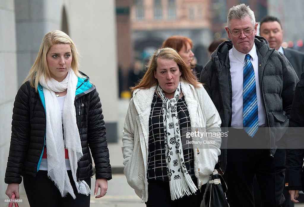 Family members of killed British soldier Lee Rigby fiancee Aimee West mother Lyn Rigby and stepfather Ian Rigby arrive at The Old Bailey on December...