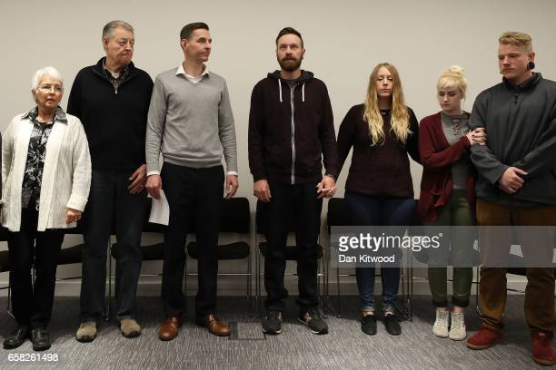 Family members of Mellisa Payne Cochran and Kurt Cochran arrive to answer questions from the press at New Scotland Yard on March 27 2017 in London...