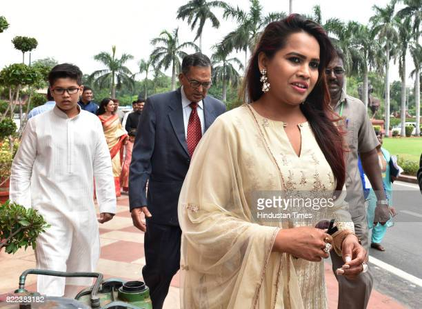 Family members of Presidentelect Ram Nath Kovind arrive to attend his swearingin ceremony at Parliament on July 25 2017 in New Delhi India Ram Nath...