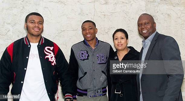 Family members of Rapper Eve brothers Farrod Wilch and Sherman Wilch mother Julie Wilch and stepfather Ron Wilch pose at Kung Fu Necktie on May 9...