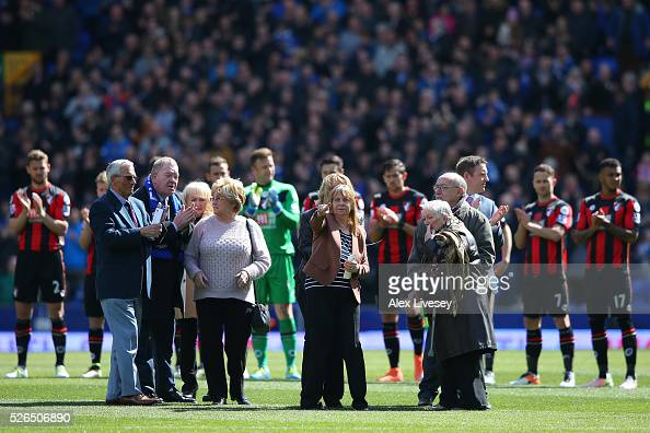 Family members of the victims of the Hillsborough disaster are seen prior to the Barclays Premier League match between Everton and AFC Bournemouth at...