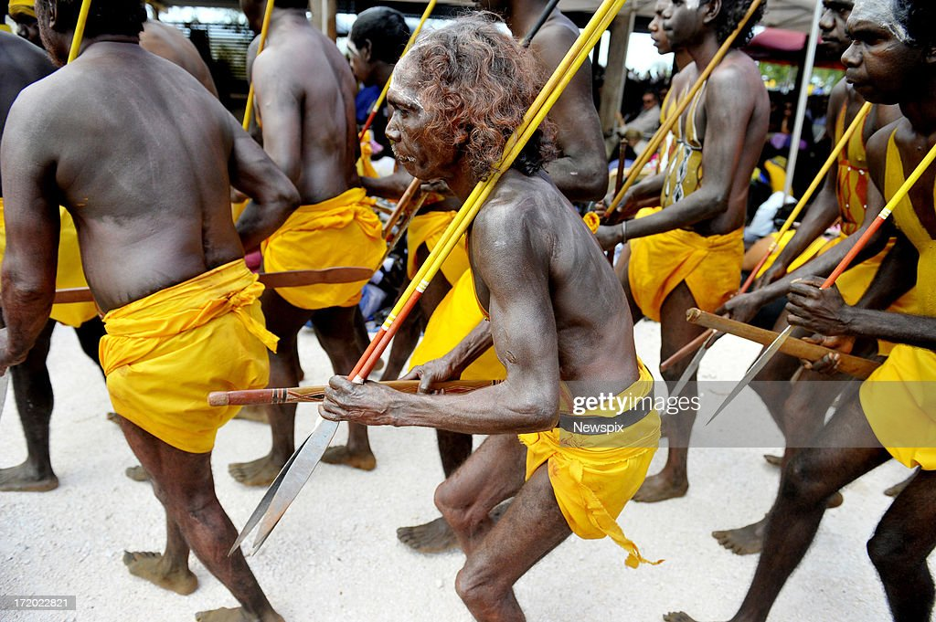 Family members perform traditional dances during the state memorial service for 'Yothu Yindi' founder Mr Yunupingu on June 30, 2013 in Gulkula, Nhulunbuy in the Northern Territory, Australia. Former Yothu Yindi singer and indigenous educator Yunupingu died almost a month ago aged 56.
