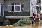Family members stuck in to the floods not willing to come out on September 11 2014 in Srinagar India More than 50000 people have been rescued so far...