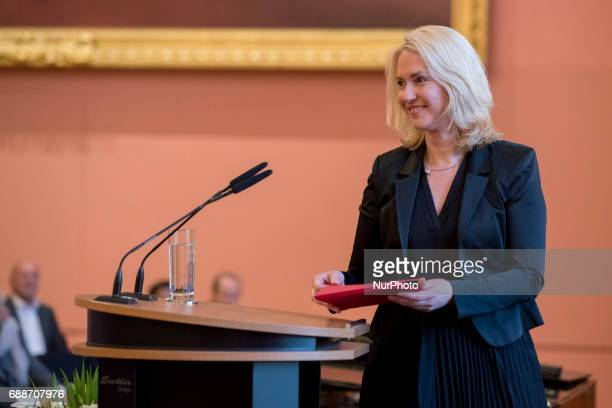 Family Minister Manuela Schwesig arrives to hold the laudatio during the OttoHahn Peace Medal awarding ceremony at the town hall in Berlin Germany on...