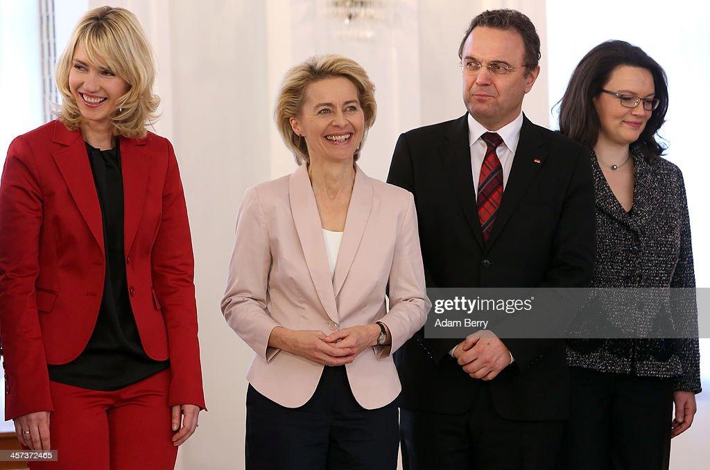 Family Minister Manuela Schwesig Defense Minister Ursula von der Leyen Agriculture and Consumer Protection Minister HansPeter Friedrich and Minister...