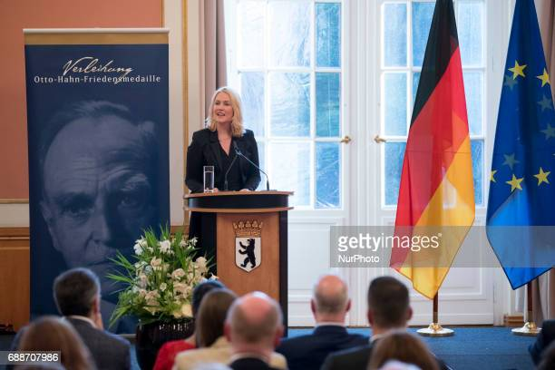 Family Minister Manuela Schwesig speaks during the OttoHahn Peace Medal awarding ceremony at the town hall in Berlin Germany on May 25 2017 Melinda...