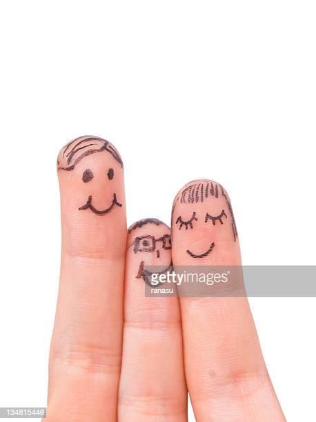Famille père, mère et enfant souriant