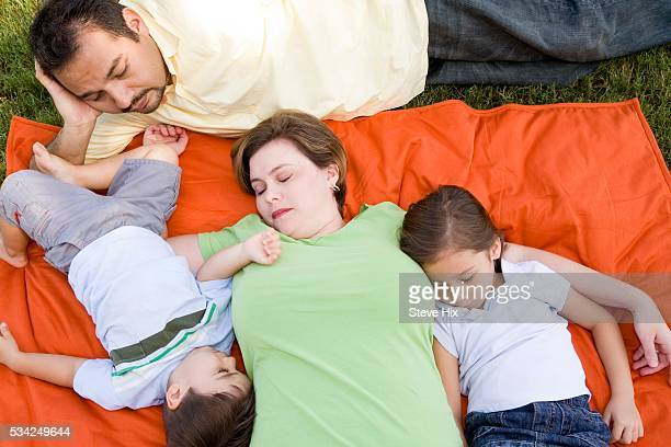 Family Napping Outdoors