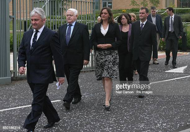 Family of Attracta Harron including son Micheal and husband Michael leave Dungannon Crown Court after the sentencing of her murderer PRESS...