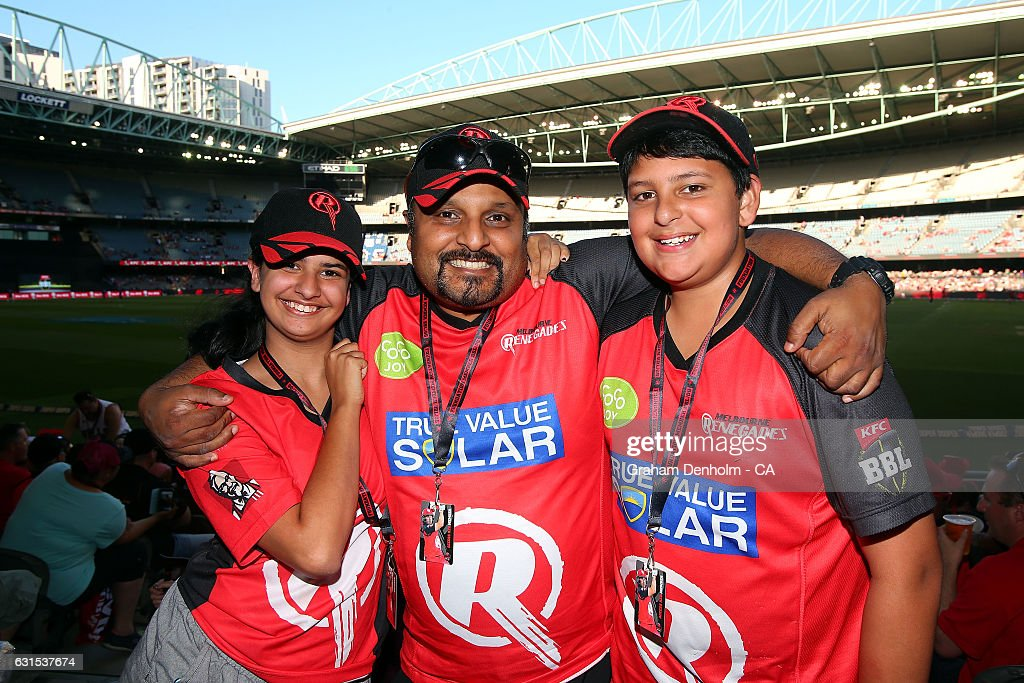A family of cricket fans show their support during the Big Bash League match between the Melbourne Renegades and the Hobart Hurricanes at Etihad Stadium on January 12, 2017 in Melbourne, Australia.