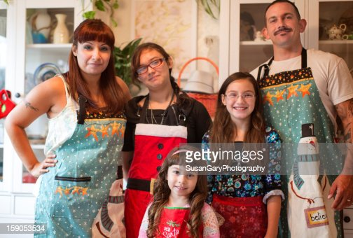 Family of Five Christmas Cookie Crew : Stock Photo