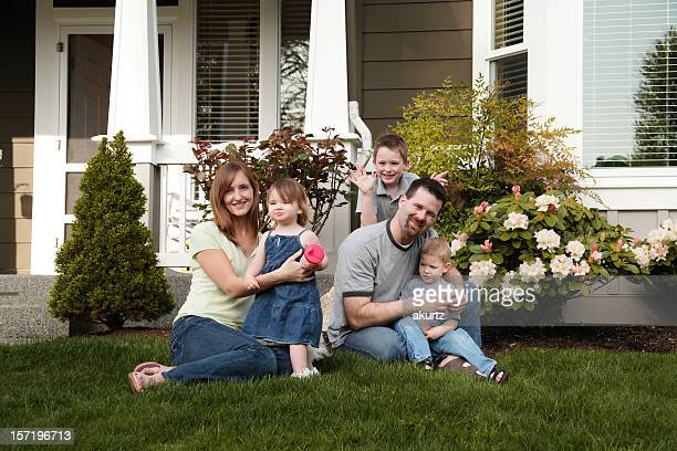 Family of five in the grass