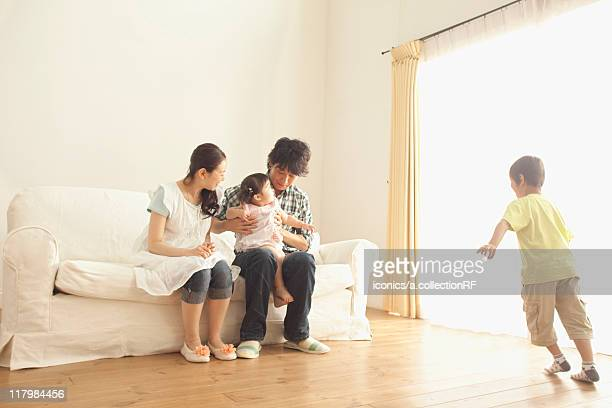 Family of Four in Living Room