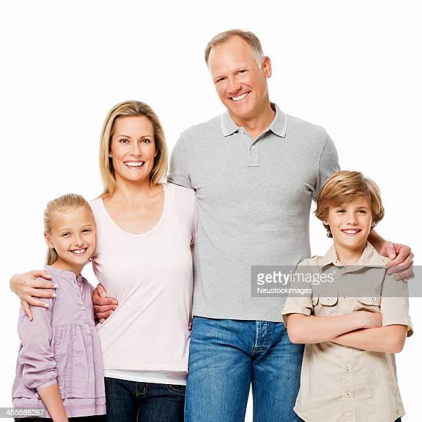Familie von vier Porträt-isoliert