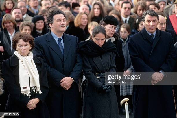 Family of Francois Mitterrand attend his private funeral in his hometown of Jarnac