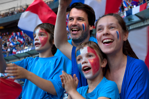 Family of French football fans at Stadium